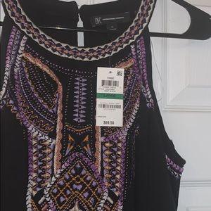 Inc international embroidered cold shoulder top